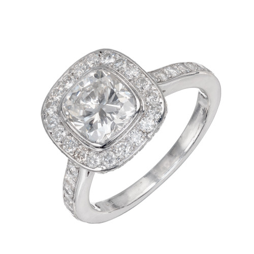 Platinum Cushion Cut 1.51ct Diamond Halo Ring Of Exceptional Cut And Clarity