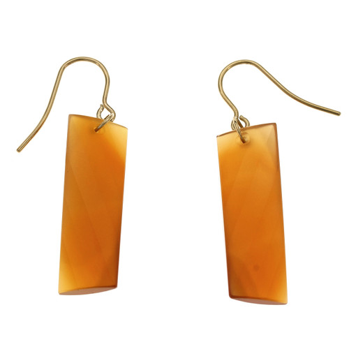 Peter Suchy Swirl Cut Carnelian Dangle Earrings 14k Yellow Gold