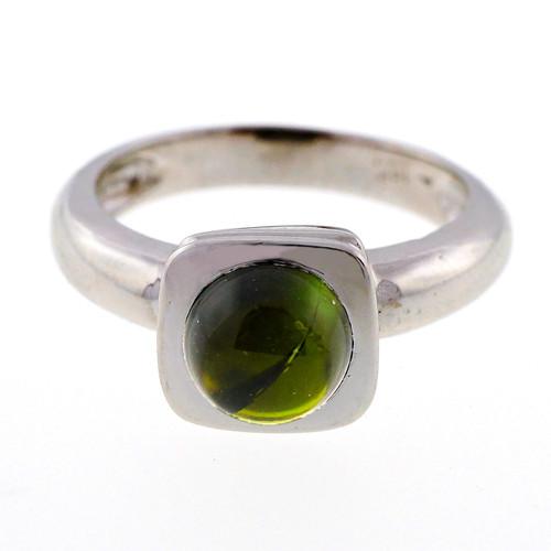 Estate Green Tourmaline 1.20ct Cabochon 14k White Gold Ring