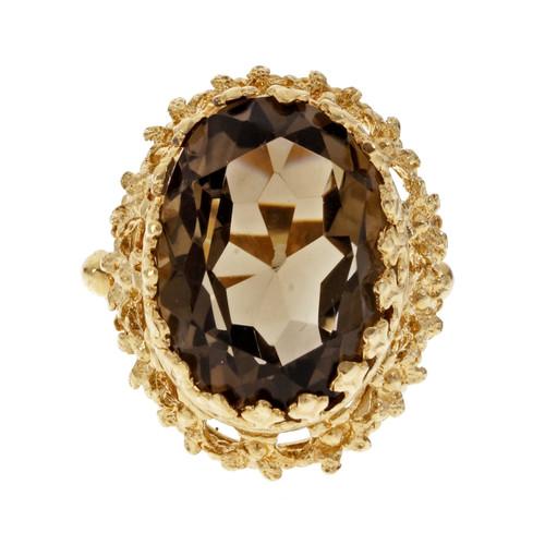 Vintage 1950 Smoky Quartz Ring Textured 14k Yellow Gold