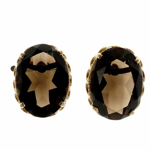 Estate 1950 Smoky Quartz 20.00ct Earrings 14k Yellow Gold