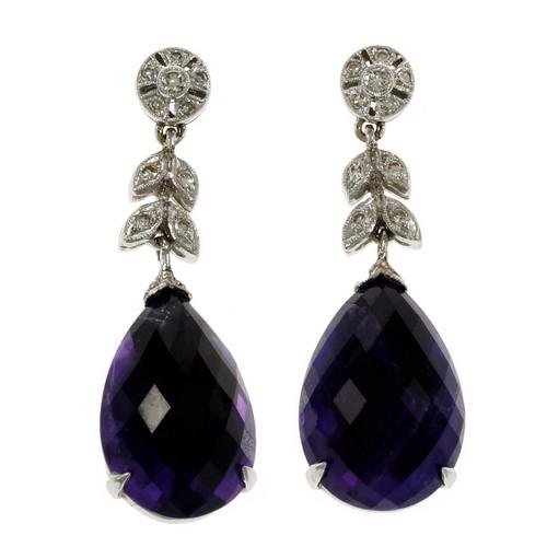 Estate Deep Purple Amethyst Earrings 18k White Gold Diamond