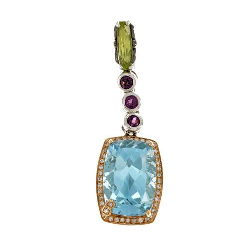 Bellarri Blue Topaz Peridot Pendant Silver 18k Pink Gold