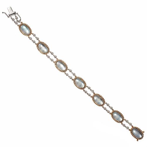 Designer JMP Blue Topaz Mother of Pearl Bracelet 18k Gold Diamond