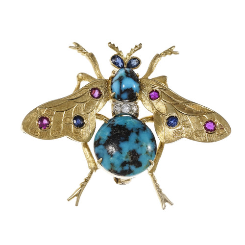 Vintage Bee Pin Natural Turquoise Ruby Sapphire & Diamond 18k Yellow Gold