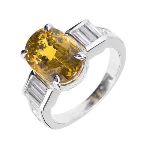 Estate Natural GIA Natural Yellow Sapphire Ring Platinum Engagement Diamond