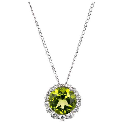 Green Peridot Round Halo Diamond Pendant 18k White Gold