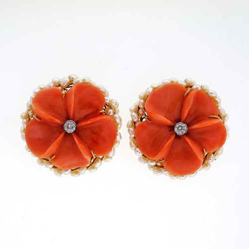 Vintage Carved Coral Diamond Pearl 9k English Flower Earrings