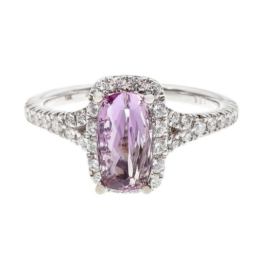 GIA Certified 1.44 Carat Pink Topaz Diamond Halo Gold Engagement Ring