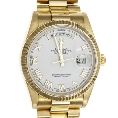 Rolex President Wrist Watch Solid 18k Yellow Gold White Dial Roman Numerals