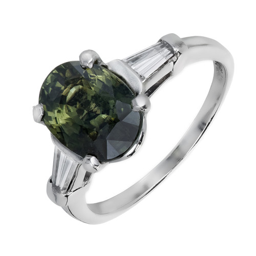 Vintage 1950 4.05ct Sapphire Engagement Ring Yellowish Green Platinum Diamond