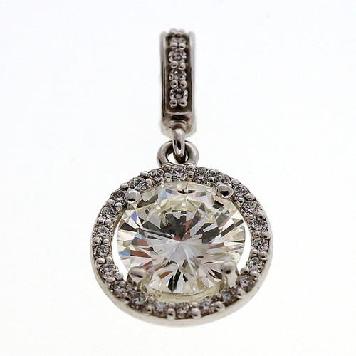 Estate 1.22ct Diamond 14k White Gold Halo Pendant