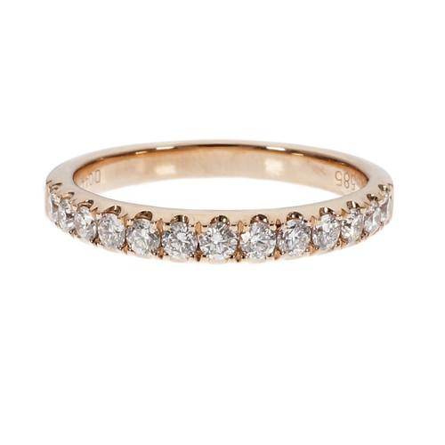 Groove Set Pink Gold Diamond Wedding Band Ring 14k Rose Gold