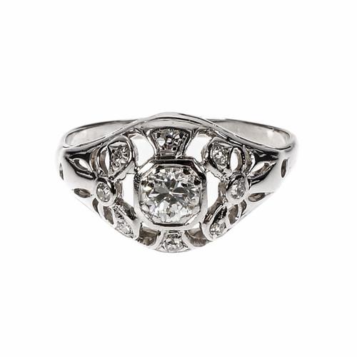 Estate Open Work Diamond Ring 1940 Transitional Cut 18k White Gold