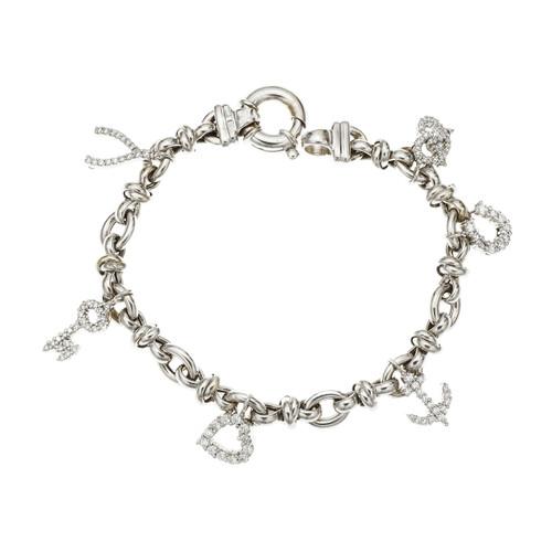 Roberto Coin Diamond Charm Bracelet 18k White Gold
