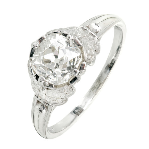 Peter Suchy Art Nouveau Inspired Diamond Engagement Ring Platinum Old Mine Cut