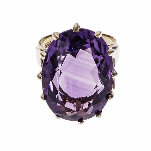 Vintage 1950 Bright Purple Amethyst Ring 14k Yellow Gold