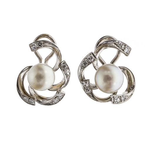 Vintage 1950 Open Swirl Earrings Diamond Pearl 14k White Gold
