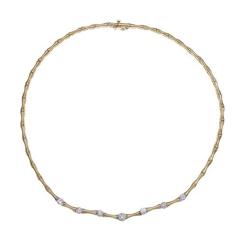 Italian Hinged Link 7 Diamond Necklace 14k Yellow Gold