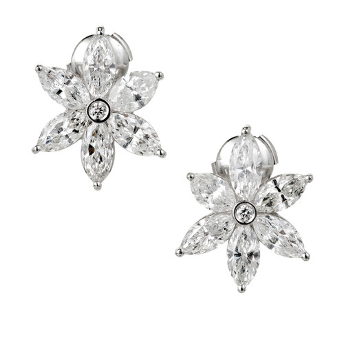 Peter Suchy 6.51 Carat Marquise Diamond Platinum Flower Earrings