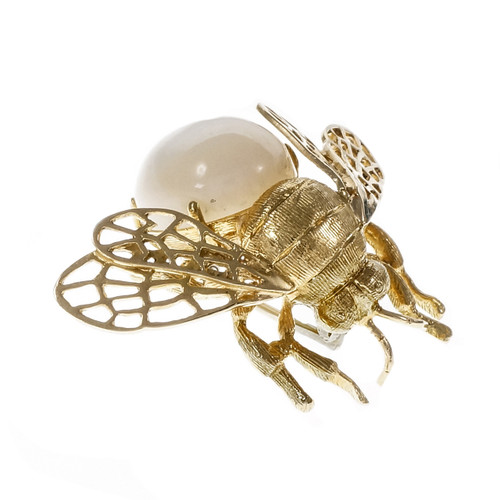 Vintage 1950 Bee Pin Mother of Pearl 18k Yellow Gold