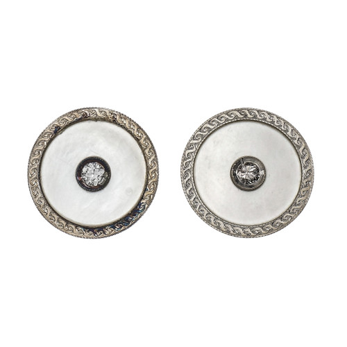 Vintage Button Style Earrings Diamond Mother of Pearl 14k Platinum