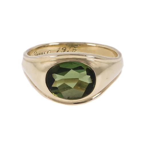 Vintage 1950 Green Tourmaline Ring 14k Yellow Gold