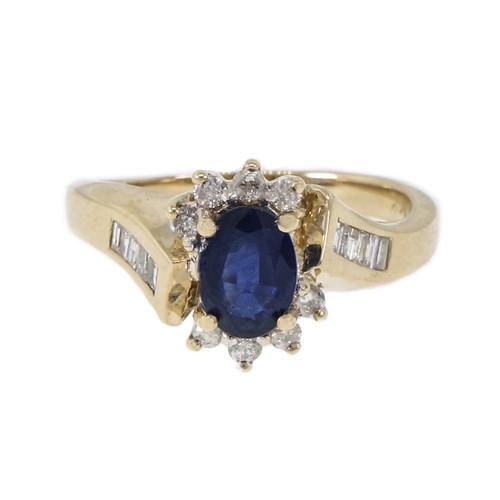 Estate Swirl Sapphire Diamond Ring Round Baguette 14k Gold