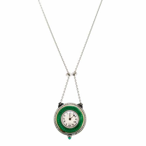 Gubelin Diamond Enamel Platinum Gold Pendant Watch Necklace