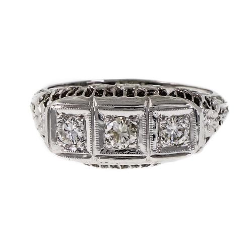 Vintage Filigree Dome Ring 14k White Gold Diamond