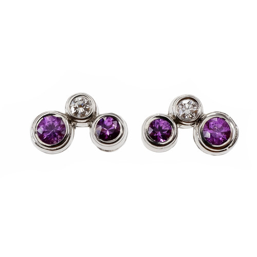 Tiffany & Co Bubble Earrings Pink Sapphire Diamond Platinum