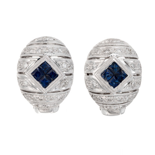 .40 Carat Blue Sapphire Diamond White Gold Domed Earrings