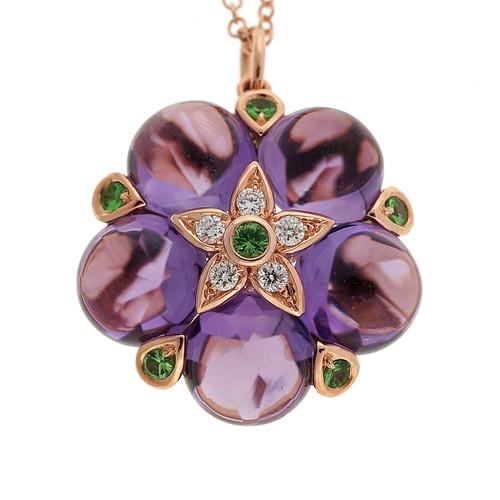 Estate Purple 10.22ct Amethyst Cabochon Garnet Diamond 14k Pink Gold Pendant