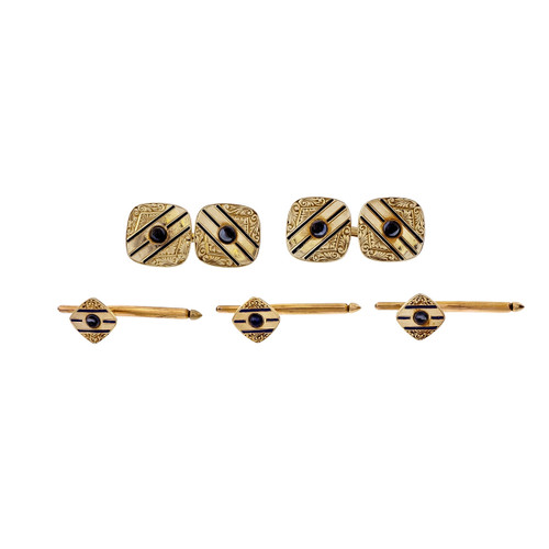 Art Deco 1925 Cufflink Shirt Stud Dress Set 14k Gold Sapphire