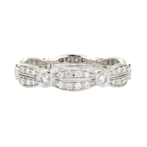 Peter Suchy Antique Inspired Platinum Diamond Eternity Band Ring
