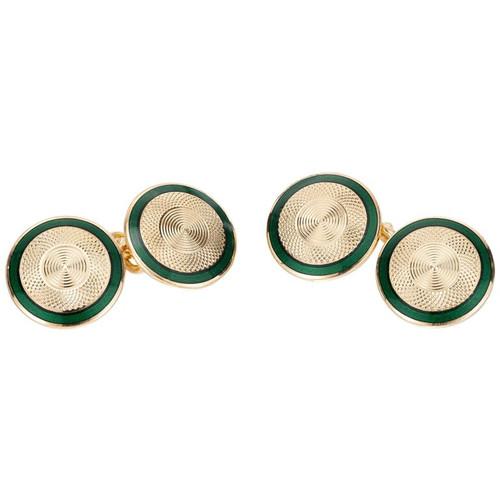 Vintage Double-Sided Cufflinks Green Enamel 18k Gold D+F