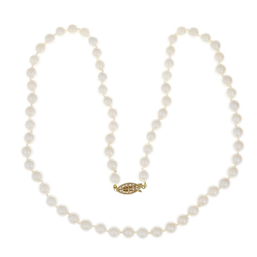 Vintage 1950 Cultured Pearl Necklace 22 Inch Long 7.5mm – 8mm
