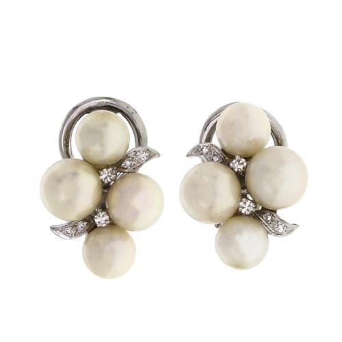 Estate 1950 Pearl Diamond Flower Earrings Clip Post 14k White Gold