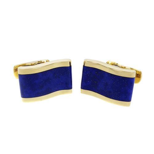 Estate Wave Design Blue Lapis Cufflinks 18k Yellow Gold