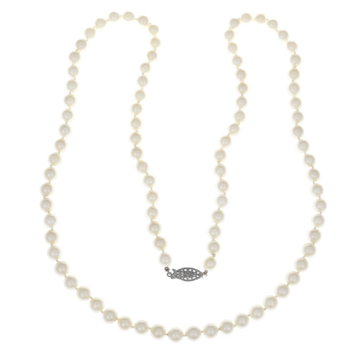 Vintage 1960 Cultured Pearl Necklace 27 Inches Long 7.5mm – 8mm