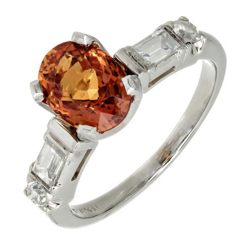 Estate Rare Natural Orange Sapphire 2.08cts Engagement Ring Platinum Diamond