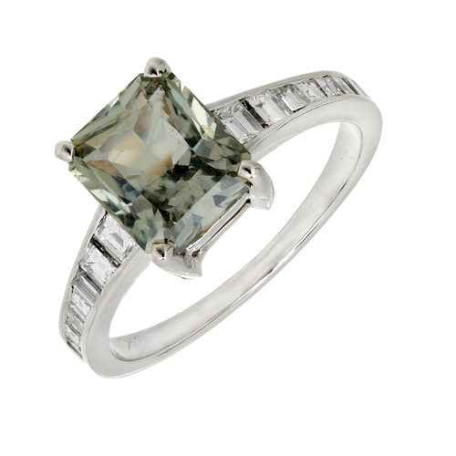 GIA Certified 2.89 Carat Green Sapphire Diamond Gold Engagement Ring