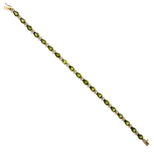 Estate Fine Green Peridot Bracelet 14k Yellow Gold