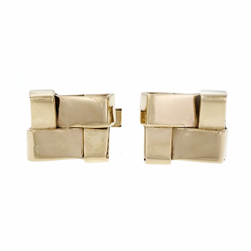 Vintage Mid Century Folded Cuff Links 14k Yellow Gold