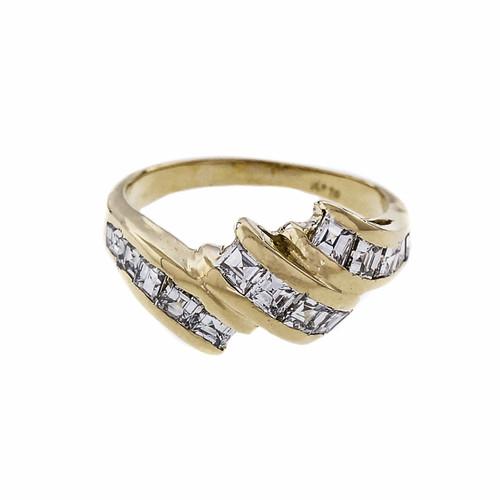 Estate Step Cut Diamond Swirl Ring 18k Yellow Gold