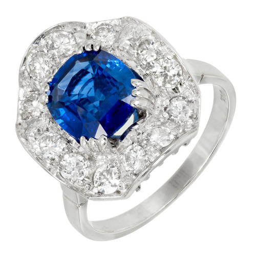 Vintage 1940 Gem Blue Antique Cushion Cut Sapphire Ring Wave Diamond Cluster