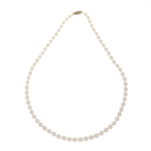 Vintage Cultured Pearl Necklace 6.5 – 7mm 18 Inches 14k Gold