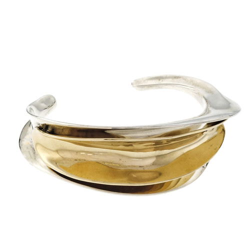 Folded Leaf Design Bangle Bracelet 14k Gold Silver Slip On