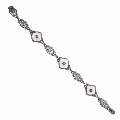Art Deco Angel Skin Quartz Diamond Bracelet 14k White Gold