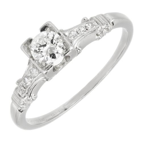 Vintage Jabel Diamond Engagement Ring .30ct Transitional Cut 1940 Platinum